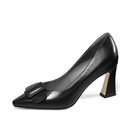 Pumps Slip On Sculpted Heel Leather 7 cm Mid Heels Pointed Toe Business Casual Shoes