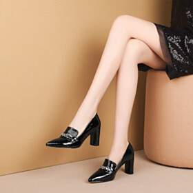 Pointed Toe Loafers Leather Embossed 3 inch High Heel