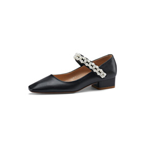 Leather With Pearls Black Comfort Womens Footwear Modern Low Heels Business Casual Shoes