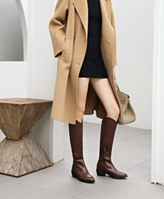 2 inch Low Heel Knee High Boot Women Shoes 2021 Brown Vintage Tall Boots