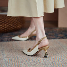 Pointed Toe Studded Classic Mid Heel Pumps Slingback D orsay Women Shoes Business Casual