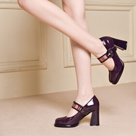 With Ankle Strap Closed Toe Plum Classic Block Heel High Heels Pumps Mary Jane With Metal Jewelry