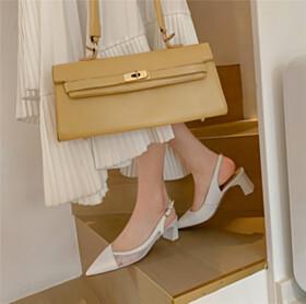 Modern Going Out Footwear Block Heels 5 cm Low Heel Pumps White Comfort Tulle Slingback Chunky Elegant