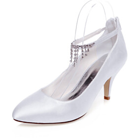White Pointed Toe Pumps Beautiful Ankle Strap 7 cm Heeled Stilettos Bridal Shoes With Rhinestones Formal Dress Shoes