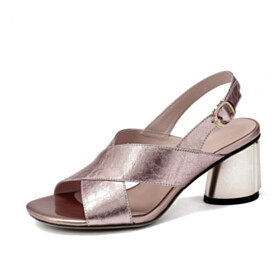 Leather 2021 Strappy Peep Toe Sandals Slingback Sparkly 6 cm Mid Heels Chunky Blushing Pink