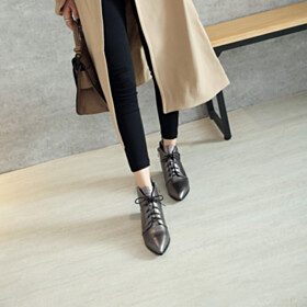 Comfort Fashion Pointed Toe Ankle Boots Closed Toe Flat Shoes Fur Lined