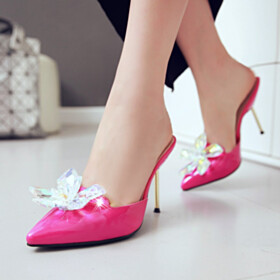 Closed Toe Mules Red Bottoms Pointed Toe Crystal Sandals For Women Fashion Stiletto Going Out Shoes High Heels