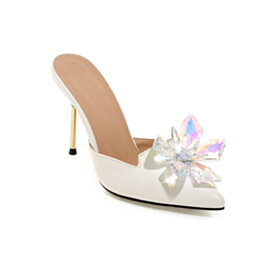 With Crystal Fashion Closed Toe Stilettos 4 inch High Heel Party Shoes Red Sole Pointed Toe White Mules