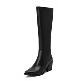 Vintage Block Heels 7 cm Mid Heels Knee High Boots Thick Heel Martin Boots Pointed Toe Black