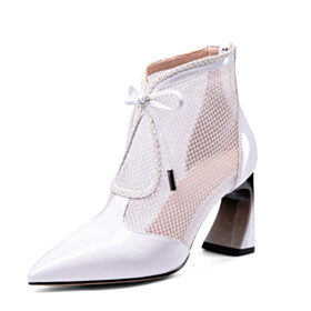 Sandals Business Casual Bowknot Elegant Summer Chunky Heel Tulle Booties 3 inch High Heel