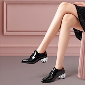Block Heel Elegant Dress Shoes Pointed Toe Chunky Hee Office Shoes Black Shooties 5 cm Low Heel Classic
