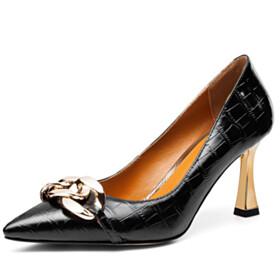 Pointed Toe Pumps Work Shoes Stiletto Heels Elegant Sparkly Metal Jewelry Neon Color High Heel Designer