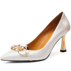 8 cm High Heels Sparkly Ombre Pumps Going Out Footwear Designer Stiletto White Business Casual Shoes Elegant Dress Shoes Neon Color Leather