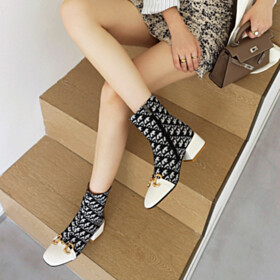 Houndstooth White Low Heels Booties Chunky Shoes For Women Fur Lined Flats Comfortable Chelsea Boots