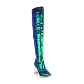 Thigh High Boot Green Chunky Heel Tall Boot Block Heels Winter Sparkly Sequin High Heel