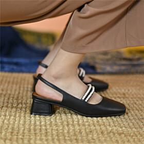 Pearls Comfortable Chunky Heel Womens Shoes Block Heels Slingbacks Black Cute 4 cm Low Heel Business Casual
