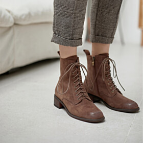 Round Toe Block Heels Brown Business Casual Shoes Suede Vintage Fur Lined Classic Leather Thick Heel Lacing Up Booties Low Heeled