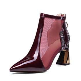 Beautiful Sparkly Sequin Burgundy Booties 7 cm Mid Heels Chunky Sandals For Women Natural Leather Business Casual Fashion Pointed Toe