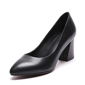 Business Casual Shoes Black Closed Toe Full Grain Block Heel 8 cm High Heel Pointed Toe Pumps Thick Heel Classic