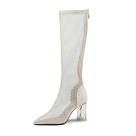 Stilettos Modern Knee High Boot Sandals For Women Cut Out Pointed Toe White Tall Boots 9 cm High Heels Sexy