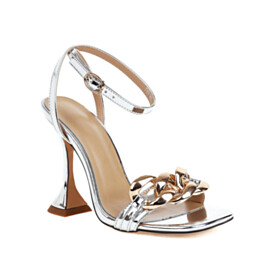 Fashion 4 inch High Heeled Metal Jewelry Party Shoes Leather Metallic Silver Ankle Strap Strappy