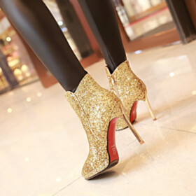 Classic Sparkly 4 inch High Heel Evening Shoes Booties Stiletto Glitter Red Bottoms