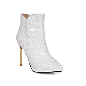 Classic Glitter High Heels Red Bottoms Booties White Pointed Toe Evening Shoes