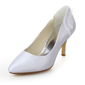 White 8 cm High Heels Pointed Toe Beautiful Slip On Wedding Shoes For Women Pumps