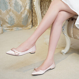 Wedding Shoes For Bridal Satin Ballet Shoes Closed Toe Pointed Toe