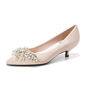 Shoes With Crystal Wedding Shoes Pumps Pointed Toe Low Heeled Kitten Heel