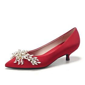 Beautiful Crystal Pumps Bridals Wedding Shoes Kitten Heel Low Heel