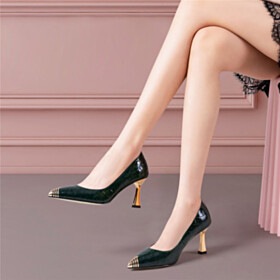Pumps Business Casual Quilted Shoes Slip On Emerald Green Elegant Stilettos Work Shoes 3 inch High Heeled