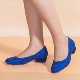Round Toe Low Heel Comfortable Beautiful Dress Shoes Royal Blue Chunky Lace