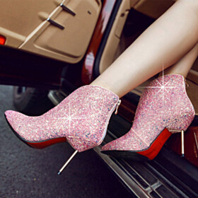 Red Bottoms Glitter Booties Closed Toe 2020 Fashion Fur Lined 4 inch High Heel Pointed Toe Going Out Footwear Stilettos Party Shoes