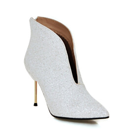 Pointed Toe Ankle Boots White Red Bottoms Sparkly Stiletto 4 inch High Heel Fur Lined Fashion Closed Toe