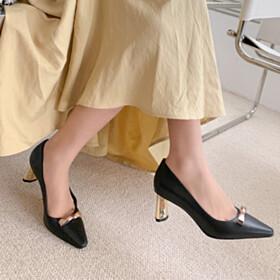 Metallic 2021 Closed Toe Pumps Mid Heels Leather Black Fashion
