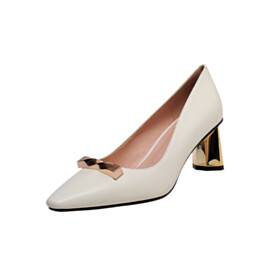 White Chunky Closed Toe Leather Pumps 2021 Pointed Toe Metallic Shoes For Women With Metal Jewelry 6 cm Heel Business Casual Shoes
