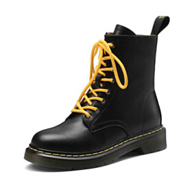 Leather Womens Shoes Classic Round Toe Ankle Boots High Tops Flats Womens Shoes Black Comfort Lacing Up