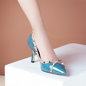 Modern Stilettos Business Casual Shoes Pumps 2021 Dress Shoes Studded Leather Sky Blue Mid Heel