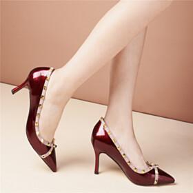 7 cm Heel Studded Burgundy Beautiful Pumps Stiletto Heels Dress Shoes