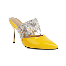 Sandals Stilettos Leather Yellow Party Shoes Mules Fringe High Heel Fashion