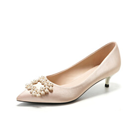 Elegant Pumps Wedding Shoes For Women Pointed Toe Low Heel Womens Shoes