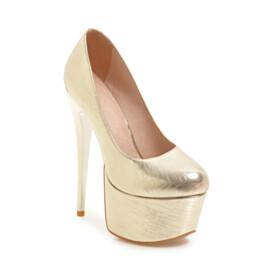 Closed Toe Platform Heel Round Toe Pumps Classic 15 cm High Heel