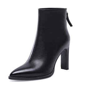 Classic Pointed Toe Leather Fur Lined Stiletto 8 cm High Heel Booties Black Closed Toe Going Out Footwear