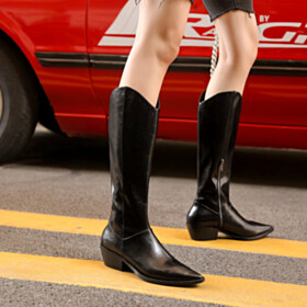 2 inch Low Heel Pointed Toe Boots Black Riding Boot Leather Chunky Heel Cowboy