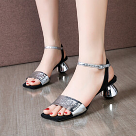 Low Heels Leather Silver Strappy Sandals Designer Peep Toe Chunky Metallic Party Shoes