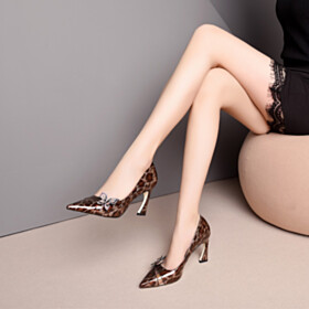 Womens Shoes Elegant Pumps Leopard Spring 3 inch High Heel Pointed Toe