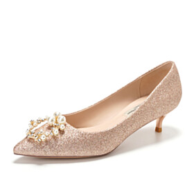 Luxury Sparkly Champagne Party Shoes Womens Shoes Pumps Pointed Toe 1 inch Low Heel Bridal Shoes Dress Shoes With Pearls Prom Shoes