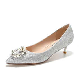Gorgeous Sparkly Closed Toe With Pearl Sequin Party Shoes Formal Dress Shoes Low Heel Pointed Toe Silver Kitten Heel Prom Shoes Womens Footwear Pumps