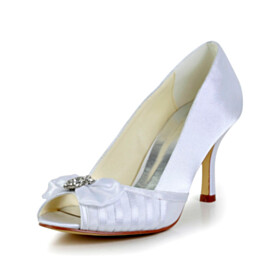 Bridals Wedding Shoes Pleated Stiletto Peep Toe Shoes 2021 With Bow White Pumps Dress Shoes 3 inch High Heel